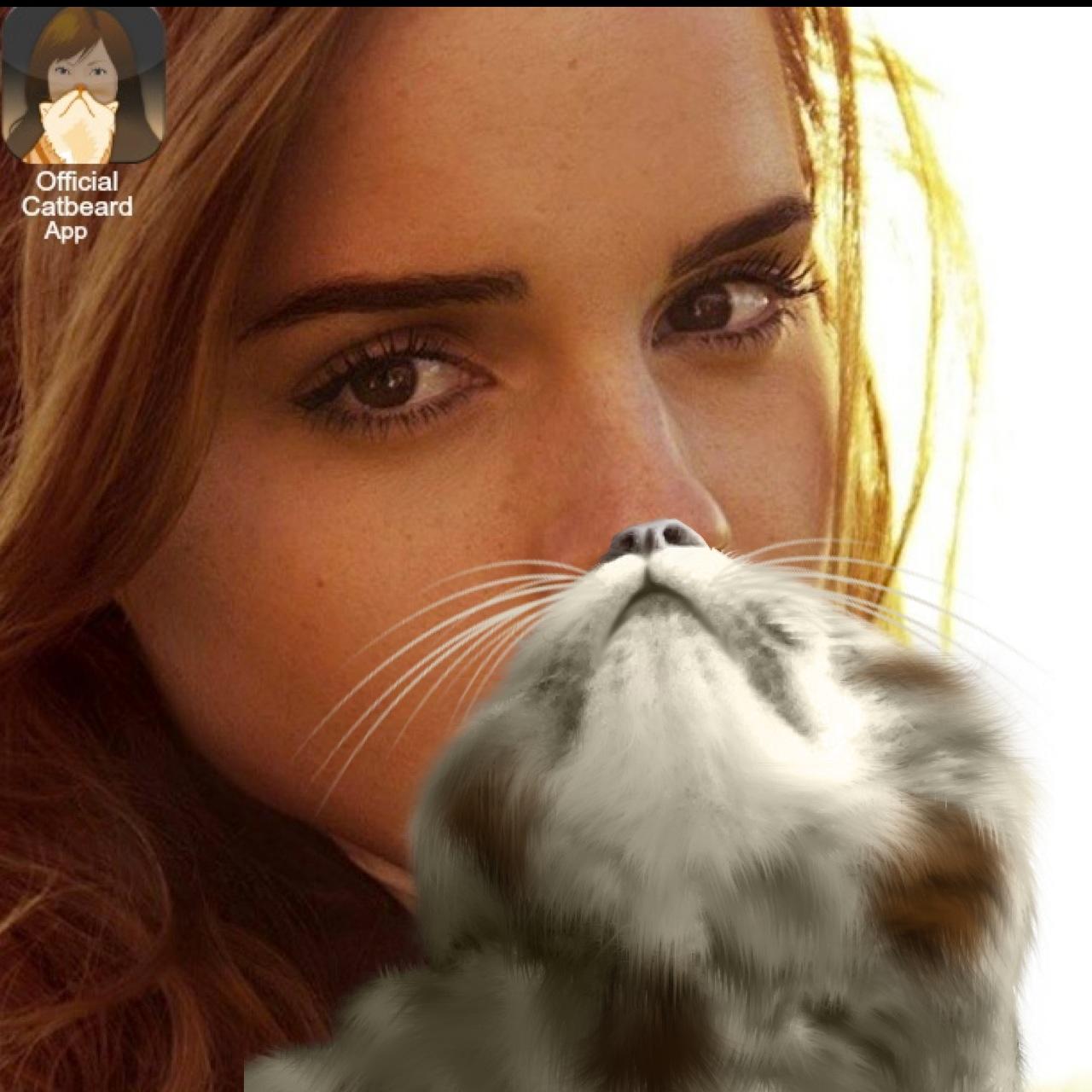 emma watson with a catbeard the official cat beard app